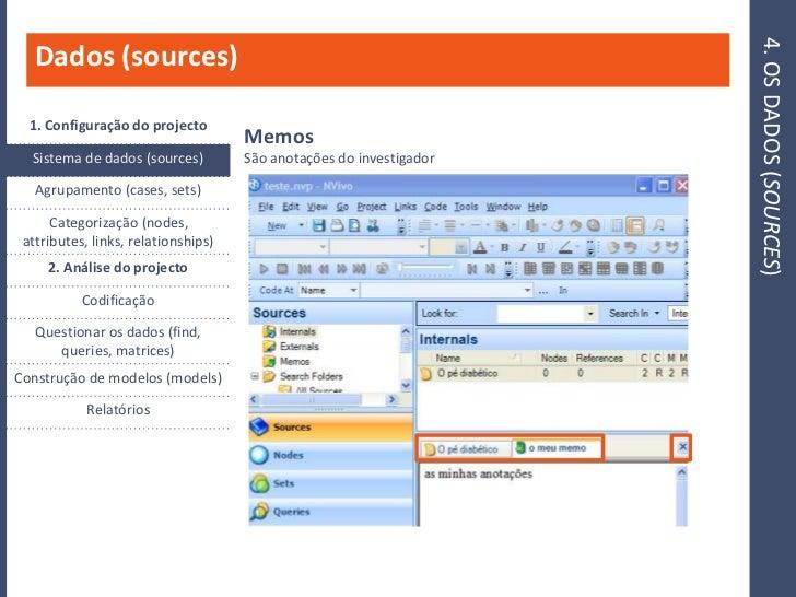 4. OS DADOS (SOURCES)    Dados (sources)    1. Configuração do projecto                                      Memos   Siste...