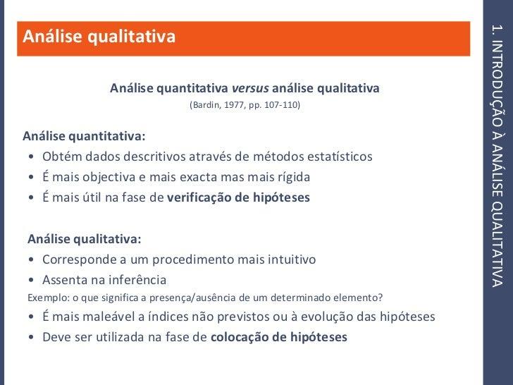 1. INTRODUÇÃO À ANÁLISE QUALITATIVA Análise qualitativa                  Análise quantitativa versus análise qualitativa  ...
