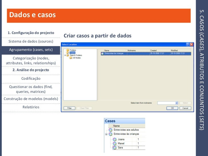 5. CASOS (CASES), ATRIBUTOS E CONJUNTOS (SETS)    Dados e casos    1. Configuração do projecto                            ...