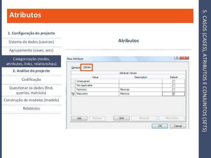 5. CASOS (CASES), ATRIBUTOS E CONJUNTOS (SETS)    Atributos    1. Configuração do projecto                                ...