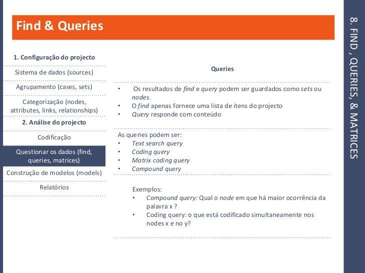 8. FIND , QUERIES, & MATRICES    Find & Queries    1. Configuração do projecto                                            ...