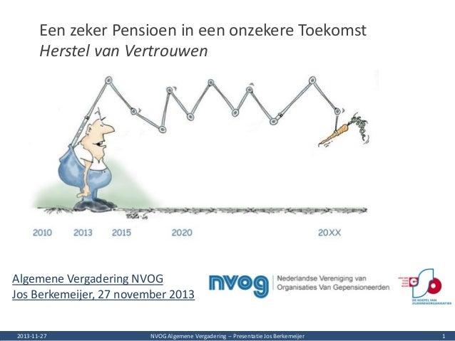Een zeker Pensioen in een onzekere Toekomst Herstel van Vertrouwen  Algemene Vergadering NVOG Jos Berkemeijer, 27 november...
