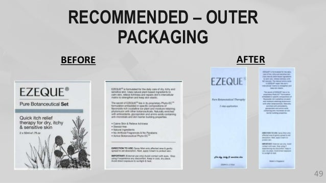 RECOMMENDED – OUTER PACKAGING BEFORE AFTER 49