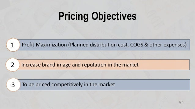 Pricing Objectives 51 Profit Maximization (Planned distribution cost, COGS & other expenses)1 Increase brand image and rep...