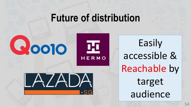 Easily accessible & Reachable by target audience Future of distribution 54