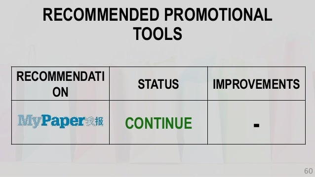 RECOMMENDATI ON STATUS IMPROVEMENTS CONTINUE - RECOMMENDED PROMOTIONAL TOOLS 60
