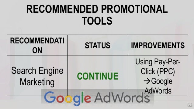 RECOMMENDATI ON STATUS IMPROVEMENTS Search Engine Marketing CONTINUE Using Pay-Per- Click (PPC) Google AdWords RECOMMENDE...