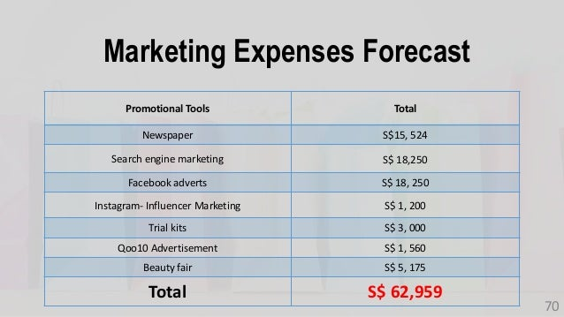 Marketing Expenses Forecast 70 Promotional Tools Total Newspaper S$15, 524 Search engine marketing S$ 18,250 Facebook adve...