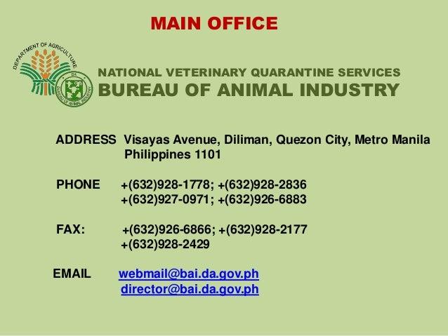 Veterinary quarantine services in the philippines for Bureau quarantine philippines