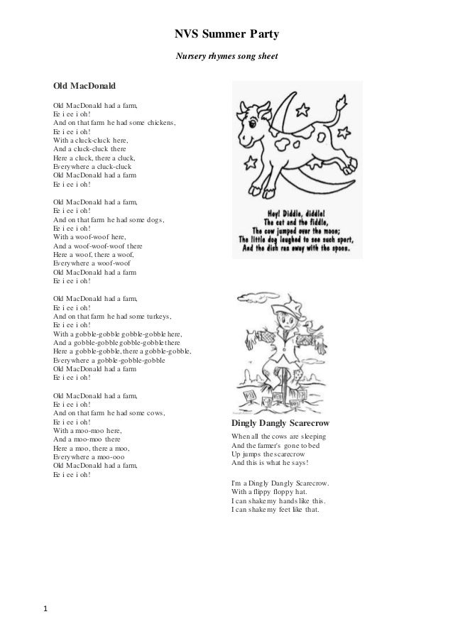 NVS Summer Party Nursery rhymes song sheet 1 Old MacDonald Old MacDonald had a farm, Ee i ee i oh! And on that farm he had...