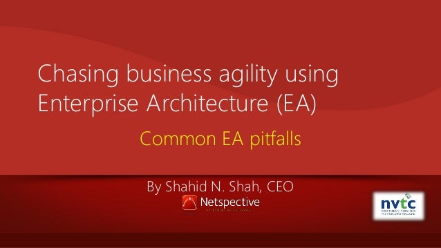 Chasing business agility using Enterprise Architecture (EA) Common EA pitfalls By Shahid N. Shah, CEO