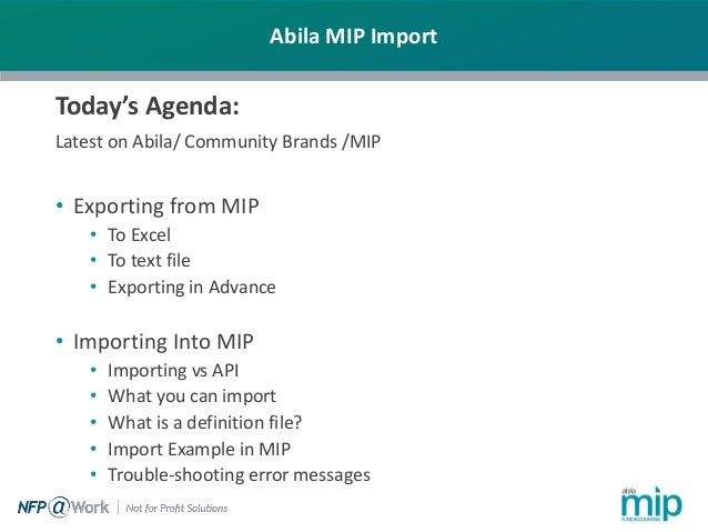 Importing and Exporting Data with Abila MIP