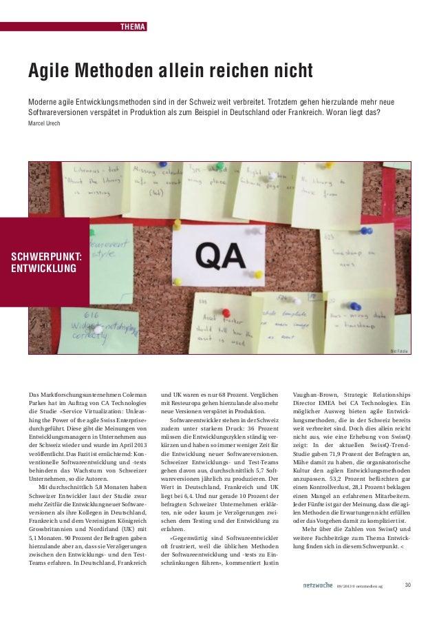 09/2013 © netzmedien ag 30Das Marktforschungsunternehmen ColemanParkes hat im Auftrag von CA Technologiesdie Studie «Servi...