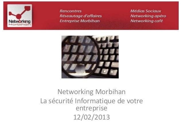 Networking Morbihan  La sécurité Informatique de votre  entreprise  12/02/2013