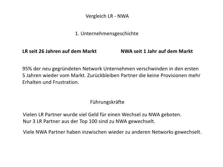 Vergleich LR - NWA<br />1. Unternehmensgeschichte<br />LR seit 26 Jahren auf dem Markt<br />NWA seit 1 Jahr auf dem Markt<...