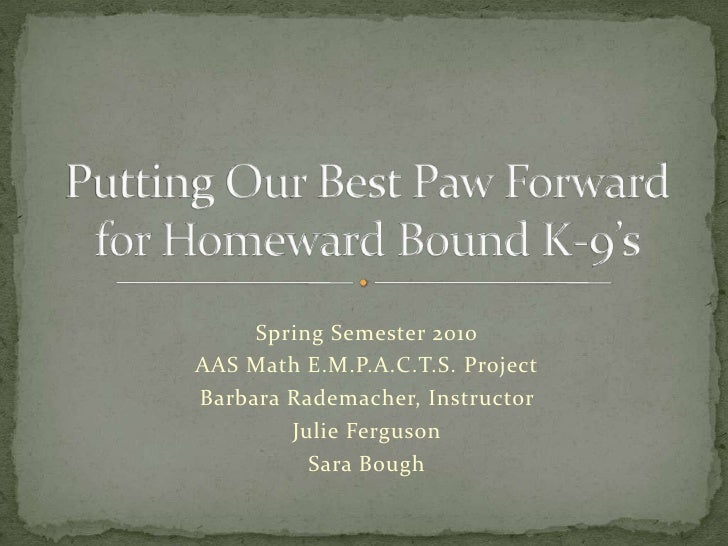 Spring Semester 2010<br />AAS Math E.M.P.A.C.T.S. Project<br />Barbara Rademacher, Instructor <br />Julie Ferguson<br />Sa...