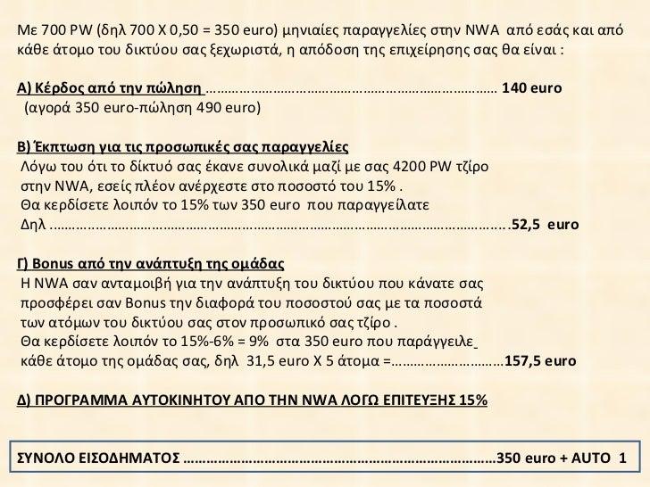 Με  700   PW ( δηλ  700  Χ 0,5 0  = 3 5 0  euro ) μηνιαίες παραγγελίες στην  NWA  από εσάς και από κάθε άτομο του δικτύου ...