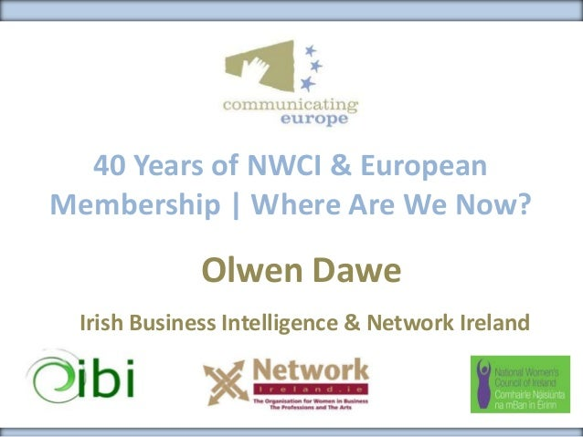 40 Years of NWCI & EuropeanMembership | Where Are We Now?Olwen DaweIrish Business Intelligence & Network Ireland