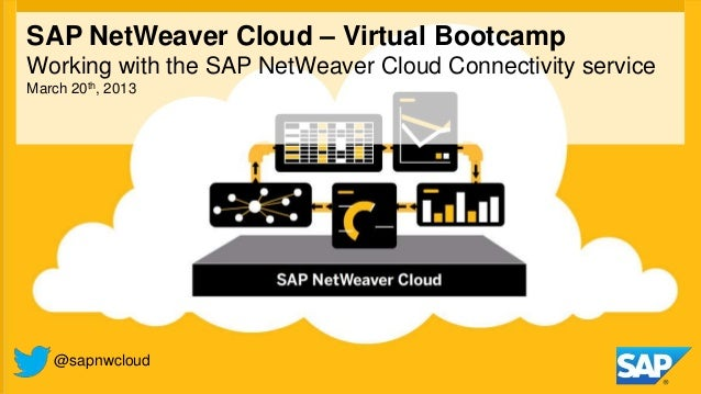 SAP NetWeaver Cloud – Virtual BootcampWorking with the SAP NetWeaver Cloud Connectivity serviceMarch 20th, 2013   @sapnwcl...