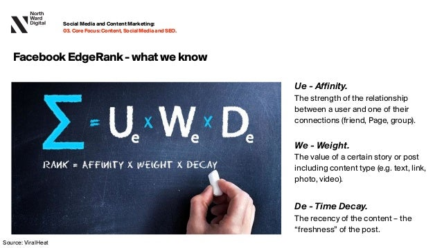 Ue - Affinity.  The strength of the relationship between a user and one of their connections (friend, Page, group). We - Wei...