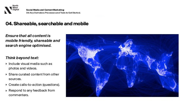 20.09.13 Ensure that all content is mobile friendly, shareable and search engine optimised. Think beyond text: ‣ Include v...