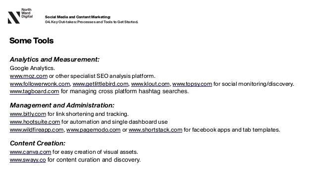 SomeTools Analytics and Measurement:  Google Analytics. www.moz.com or other specialist SEO analysis platform. www.followe...