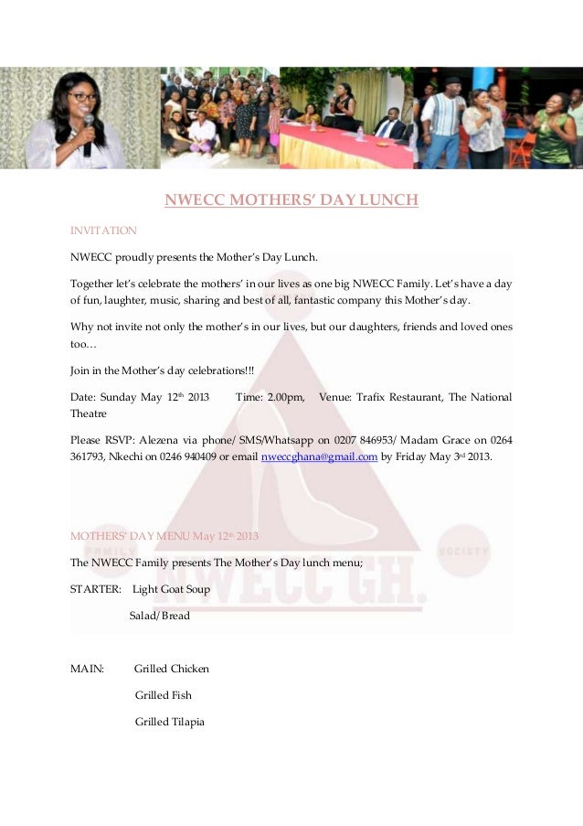NWECC MOTHERS' DAY LUNCHINVITATIONNWECC proudly presents the Mother's Day Lunch.Together let's celebrate the mothers' in o...