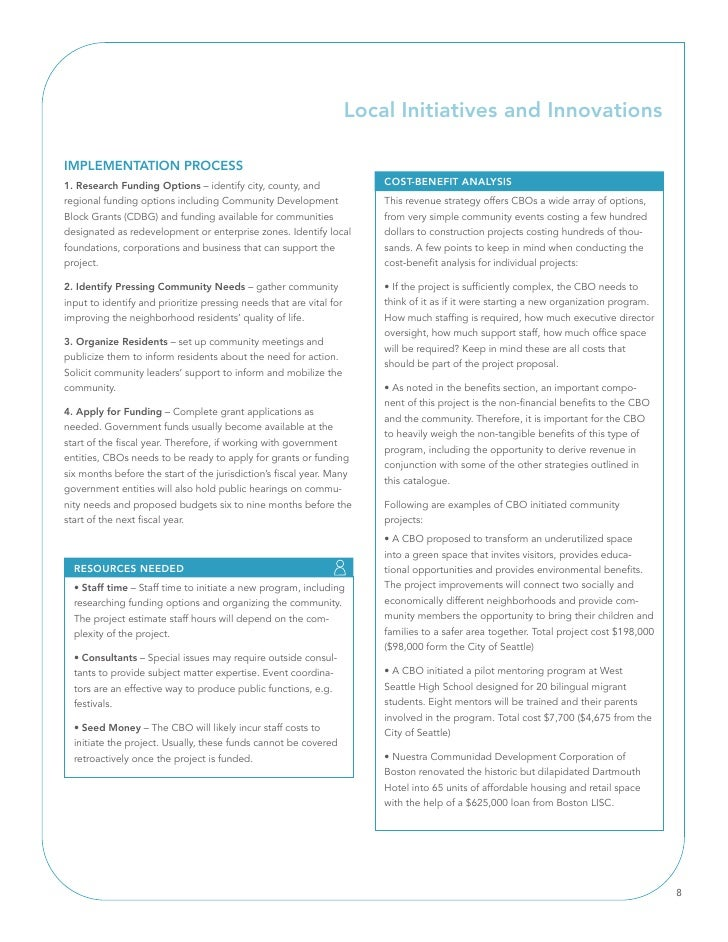 Local Initiatives and Innovations  IMPlEMEnTATIOn PROCESS 1. Research Funding Options – identify city, county, and        ...