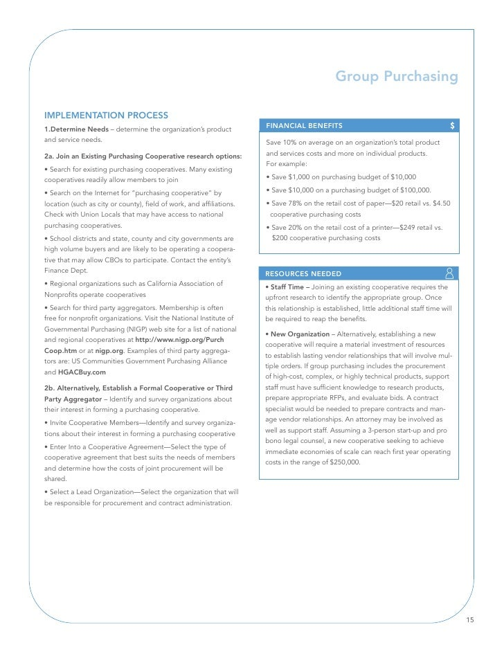 Group Purchasing  IMPlEMEnTATIOn PROCESS 1.Determine needs – determine the organization's product              FInAnCIAl B...
