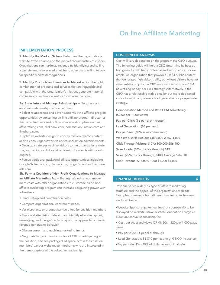 On-line Affiliate Marketing  IMPlEMEnTATIOn PROCESS 1. Identify the Market niche – Determine the organization's          C...
