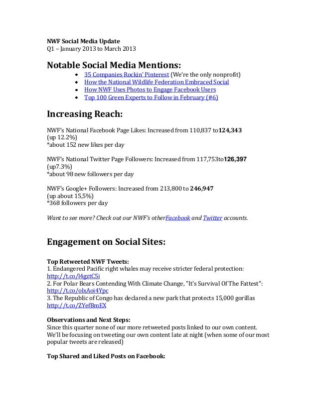 NWF Social Media UpdateQ1 – January 2013 to March 2013Notable Social Media Mentions:35 Companies Rockin' Pinterest (We're ...