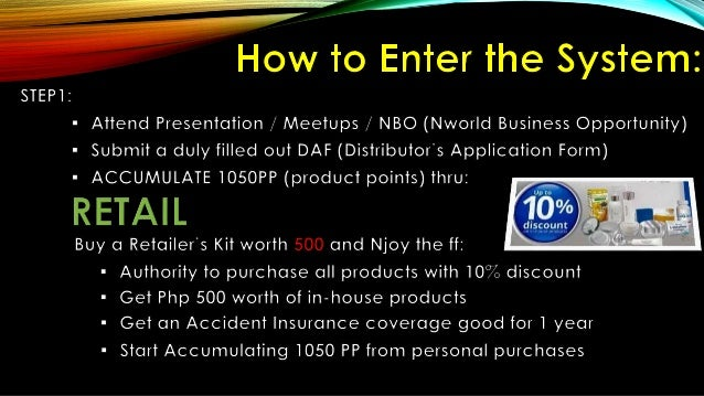 Nworld Business Opportunity Presentation. Php 14900 only!!! Earnings Kapalit ay16500 na Produkto!