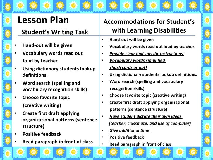 writing difficulties for students with learning disabilities