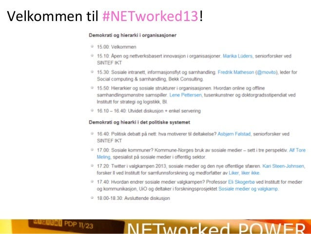 Velkommen til #NETworked13!