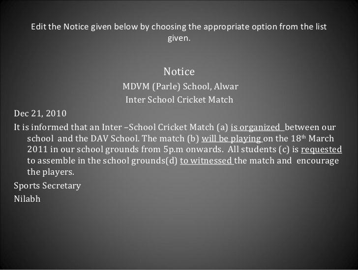 How to write notice 18 stopboris Gallery