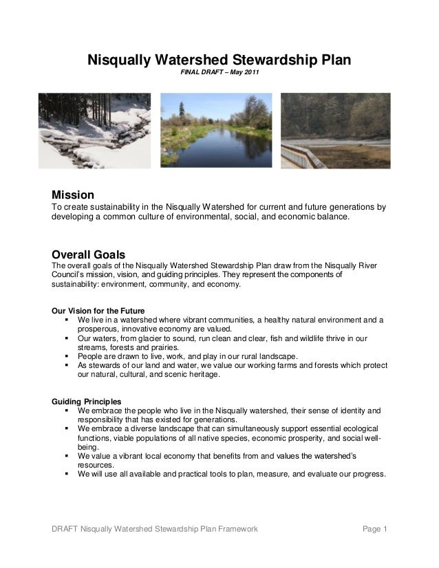 DRAFT Nisqually Watershed Stewardship Plan Framework Page 1 Nisqually Watershed Stewardship Plan FINAL DRAFT – May 2011 Mi...