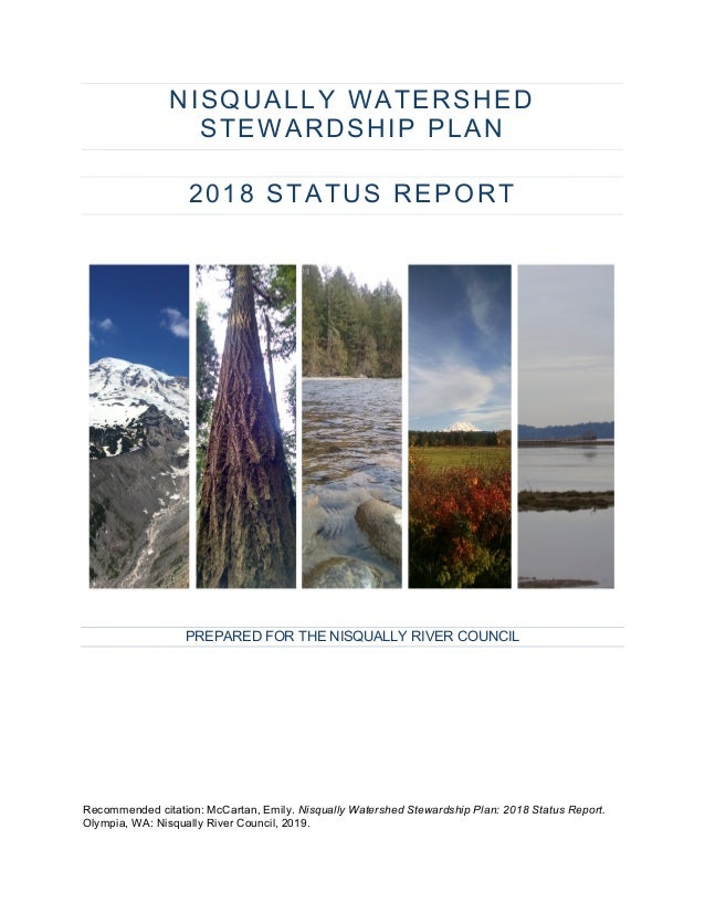 NISQUALLY WATERSHED STEWARDSHIP PLAN 2018 STATUS REPORT PREPARED FOR THE NISQUALLY RIVER COUNCIL Recommended citation: McC...