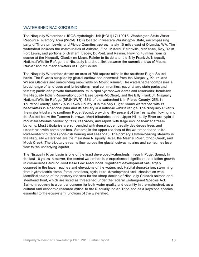 Nisqually Watershed Stewardship Plan: 2018 Status Report 10 WATERSHED BACKGROUND The Nisqually Watershed (USGS Hydrologic ...