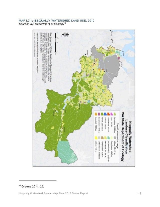 Nisqually Watershed Stewardship Plan: 2018 Status Report 18 MAP I.2.1: NISQUALLY WATERSHED LAND USE, 2010 Source: WA Depar...