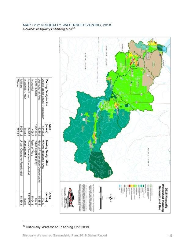Nisqually Watershed Stewardship Plan: 2018 Status Report 19 MAP I.2.2: NISQUALLY WATERSHED ZONING, 2018 Source: Nisqually ...