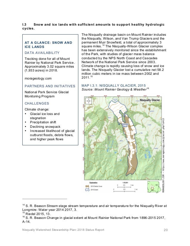 Nisqually Watershed Stewardship Plan: 2018 Status Report 20 I.3 Snow and ice lands with sufficient amounts to support heal...
