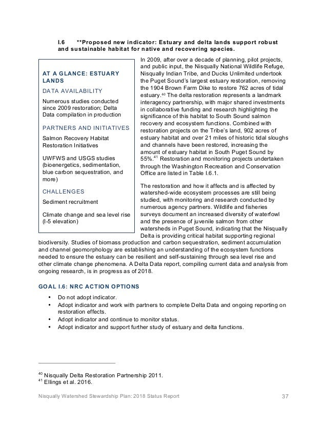 Nisqually Watershed Stewardship Plan: 2018 Status Report 37 I.6 **Proposed new indicator: Estuary and delta lands support ...