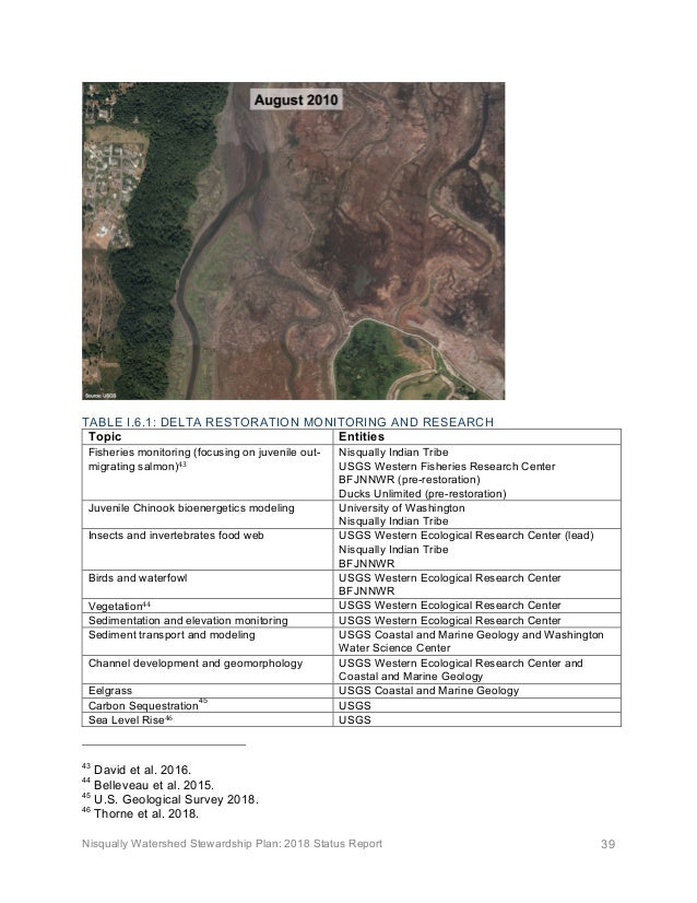 Nisqually Watershed Stewardship Plan: 2018 Status Report 39  TABLE I.6.1: DELTA RESTORATION MONITORING AND RESEARCH Topic...