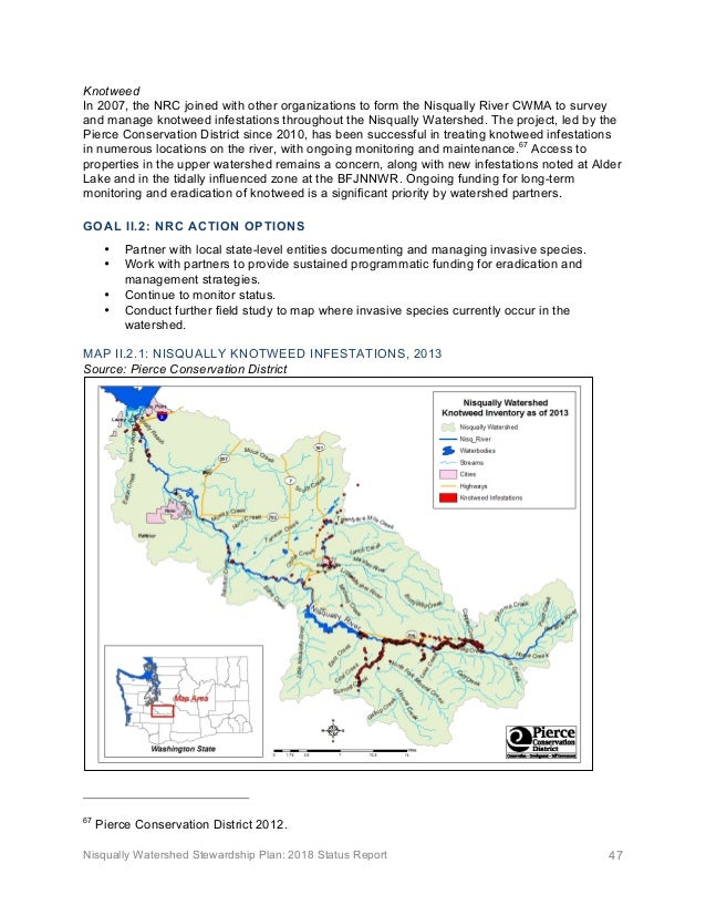 Nisqually Watershed Stewardship Plan: 2018 Status Report 47 Knotweed In 2007, the NRC joined with other organizations to f...