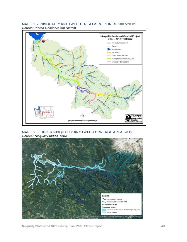 Nisqually Watershed Stewardship Plan: 2018 Status Report 48 MAP II.2.2: NISQUALLY KNOTWEED TREATMENT ZONES, 2007-2012 Sour...