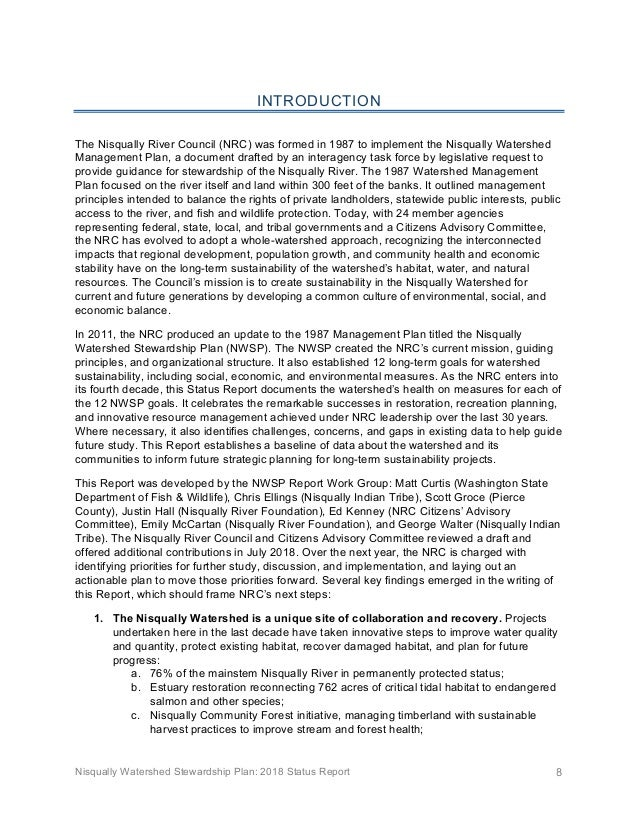 Nisqually Watershed Stewardship Plan: 2018 Status Report 8 INTRODUCTION The Nisqually River Council (NRC) was formed in 19...