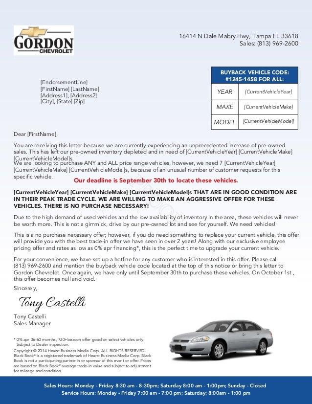 General buy back letter