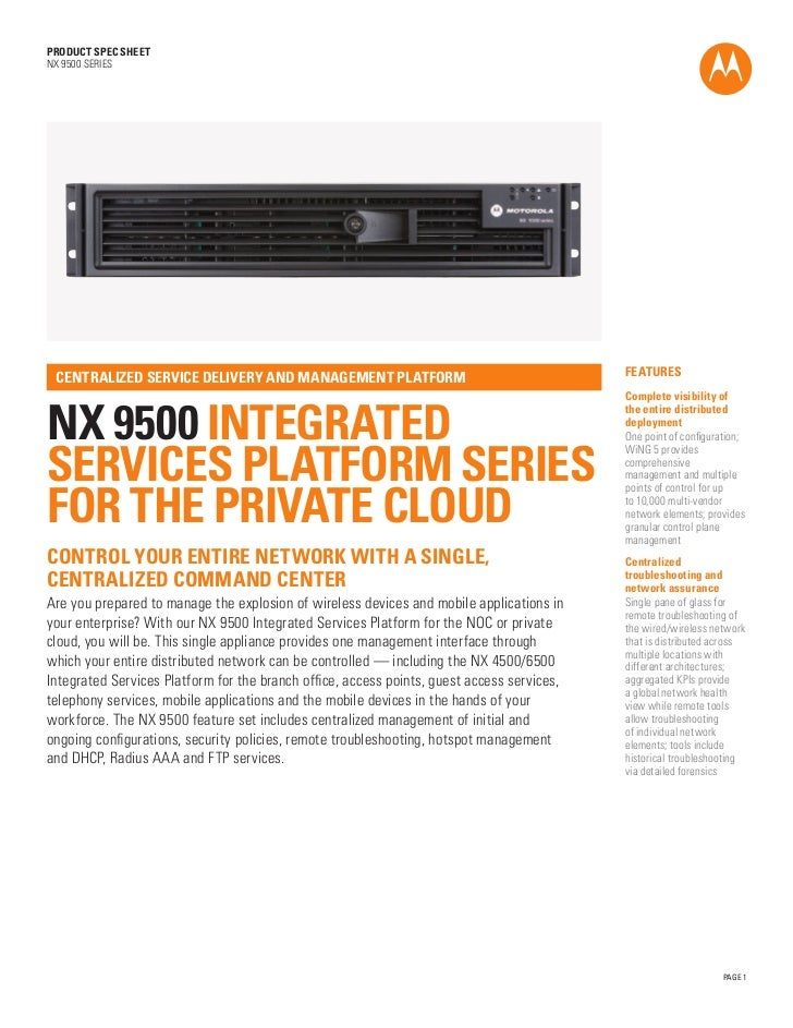 PRODUCT SPEC SHEETNX 9500 SERIES                                                                                          ...