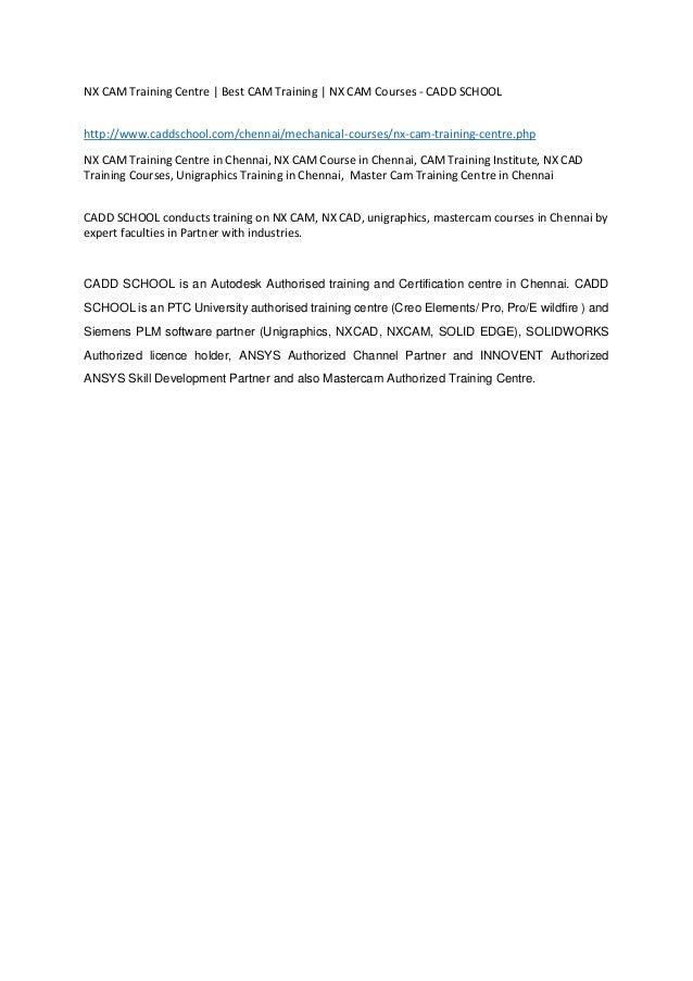 NX CAM Training Centre   Best CAM Training   NX CAM Courses - CADD SC…