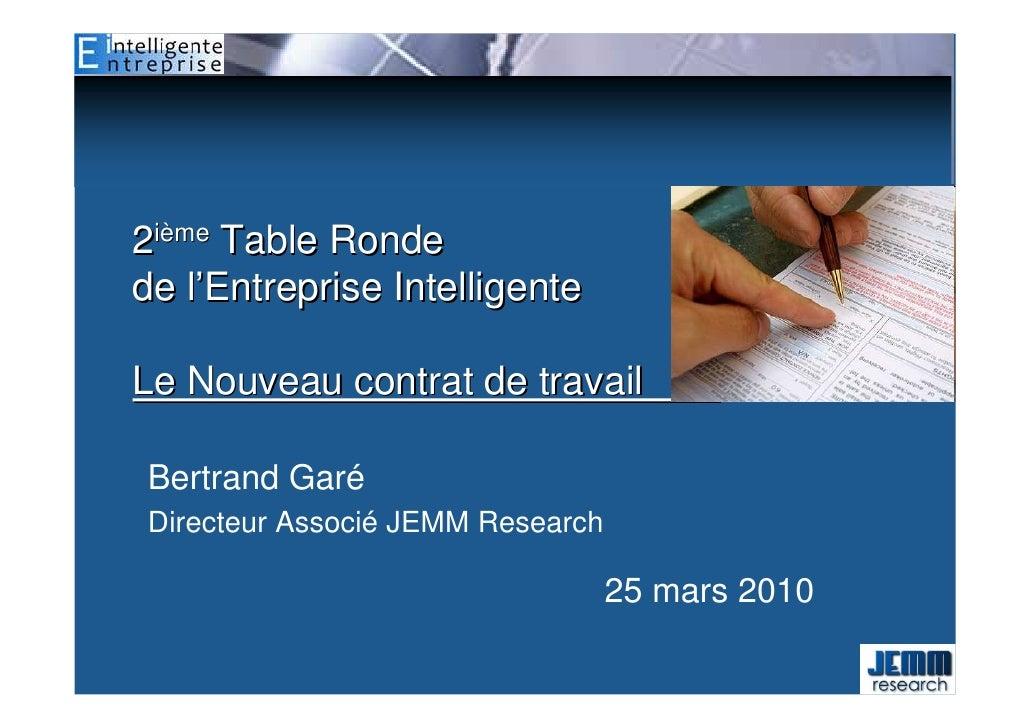 2ième Table Ronde de l'Entreprise Intelligente  Le Nouveau contrat de travail         fff  Bertrand Garé Directeur Associé...